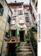 都市, 古い, rovinj, 伝統的である, croatia, 家