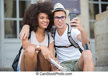 都市, 古い, selfie, 観光客, 取得, 恋人, 幸せ