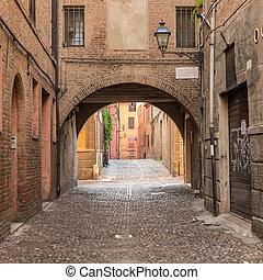 都市, 古代, 中世, ダウンタウンに, 通り, ferrara