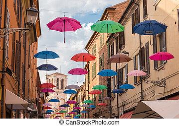 都市, 古代, 中世, ダウンタウンに, 通り, ferrara, 傘