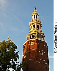 都市, 古代, 中心, 時計, 歴史的, アムステルダム, タワー