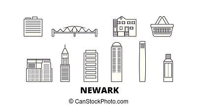 都市, 合併した, アウトライン, イラスト, 州, 旅行, landmarks., シンボル, ニュアーク, スカイライン, ベクトル, 光景, 線, set.