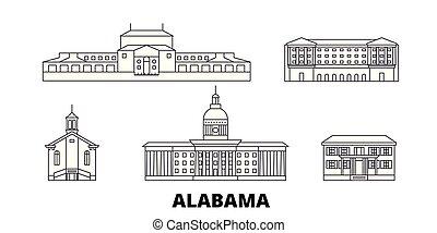 都市, 合併した, アウトライン, イラスト, 州, 旅行, landmarks., モンゴメリー, スカイライン, ベクトル, 光景, 線, シンボル, set.