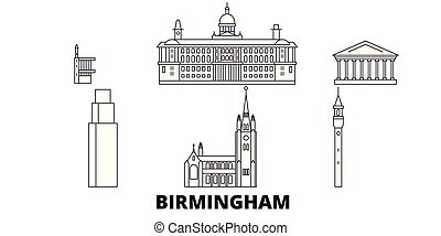 都市, 合併した, アウトライン, イラスト, 旅行, landmarks., シンボル, 王国, スカイライン, ...