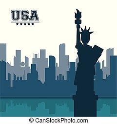 都市, 合併した, アメリカ, 自由, 州, ヨーク, 像, 新しい