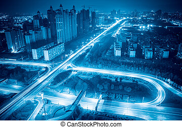 都市, 合流点, ハイウェー, 夜
