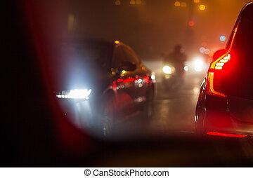都市, 含んでいること, 代理店, 排気ガス, 自動車, evening/night, -, 空気, 有害である,...