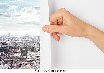 都市, 回転しているページ, 手