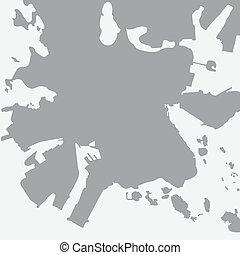 都市 地図, ヘルシンキ, グレーのバックグラウンド, 白