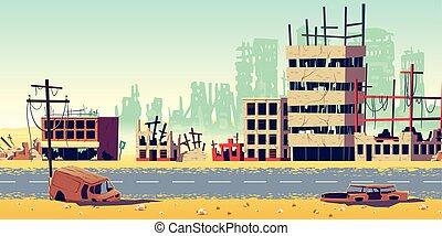 都市, 地域, 漫画, ベクトル, 背景, 戦争