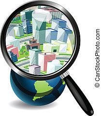 都市, 地球, 下に, 拡大鏡