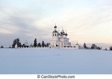 都市, 夕方, 冬, kadnikov, 教会, 予言者, elijah, 建築である, 記念碑