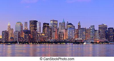 都市, 夕闇, パノラマ, ヨーク, 新しい, マンハッタン