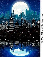 都市, 夜, シルエット, 反射, 空