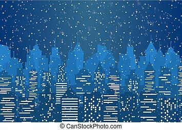 都市, 夜, シルエット, 曇った空