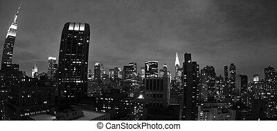都市, 夜, ヨーク, 新しい, パノラマである