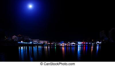 都市, 夜, ライト