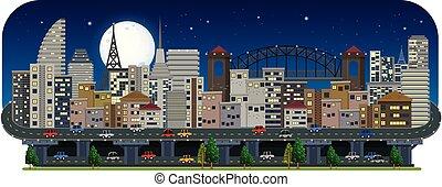 都市, 夜, 光景, パノラマである