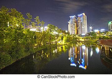 都市, 夜, 光景