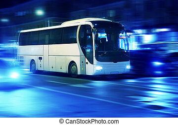 都市, 夜, 動く, バス