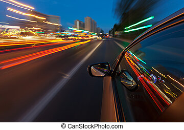 都市, 夜, 速い, 運転, 自動車