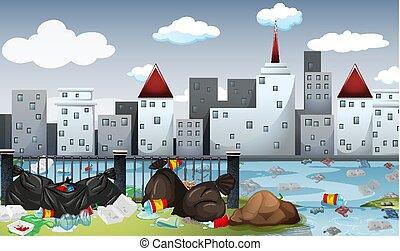 都市, 大きい, 汚染