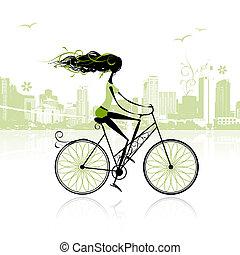 都市, 女の子, サイクリング