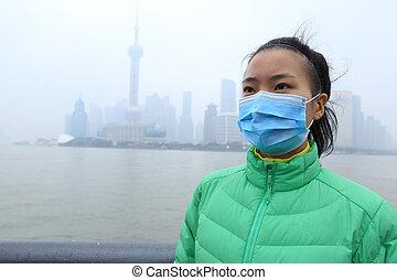 都市, 女, マスク, 若い, 心配した, ウエア, 汚染