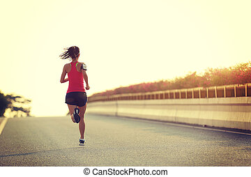 都市, 女, ランナー, 若い, 動くこと, フィットネス, 道
