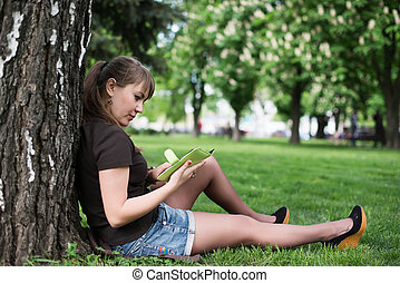 都市, 女, 公園, 若い, 本, 読書
