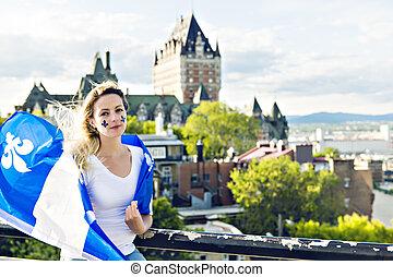 都市, 女, 国民, frontenac, ケベック, 前部, 城, 休日, 祝う
