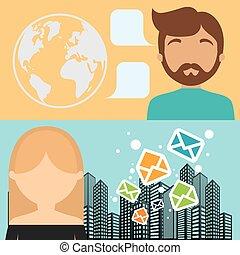 都市, 女, 封筒, 背景, メッセージ, 旗, 電子メール, 人