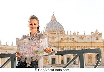 都市, 女, 観光客地図, ローマ, バチカン, 微笑, 読書