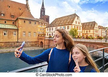 都市, 子供, ストラスブール, 写真, selfie, フランス, アルザス