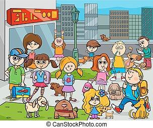 都市, 子供, 犬, 漫画