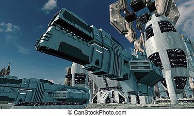 都市, 宇宙船, レンダリング, scifi, landing., 未来派, 3d