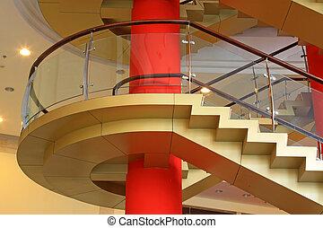 都市, 屋内, 階段, ロータリー, ガラス