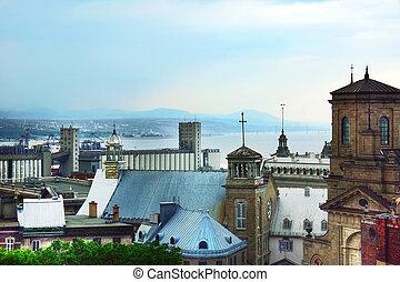 都市, 屋根, 古い, ケベック, の上