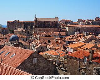 都市, 屋根, croatia, dubrovnik, 古い