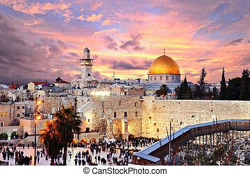 都市, 山, エルサレム, 古い, 寺院