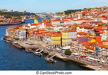 都市, 川, douro's, porto, ポルトガル, 早朝, 光景
