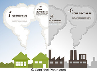 都市, 工場, enviroment, ∥対∥, 緑, 汚染