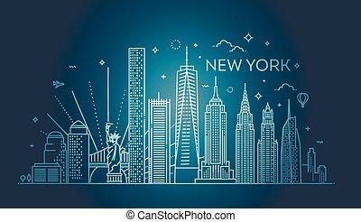 都市, 平ら, イラスト, ベクトル, デザイン, ヨーク, 新しい, スカイライン