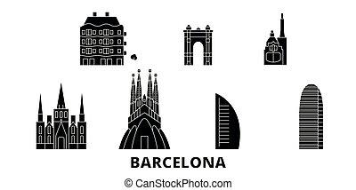 都市, 平ら, イラスト, 旅行, landmarks., バルセロナ, シンボル, スカイライン, ベクトル, 黒, 光景, スペイン, set.