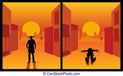 都市, 平ら, 色, 西, 野生, 背景, desert., gunslinger.