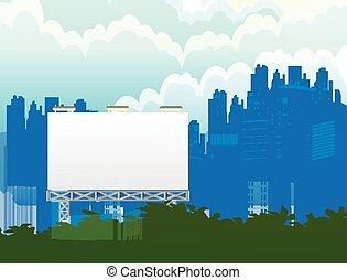 都市, 広告板, 背景
