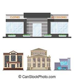 都市, 建物, アパート, ビジネスオフィス, 家, 現代, イラスト, ベクトル, 建築, ファサド, 家, タワー