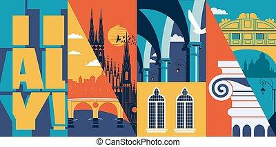 都市, 建物, イタリア, 旗, 旅行, ベクトル, 歴史的, スカイライン, illustration.