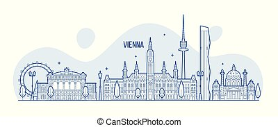都市, 建物, オーストリア, スカイライン, ベクトル, ウィーン