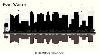 都市, 建物, シルエット, スカイライン, 黒, reflections., 価値, テキサス, 城砦